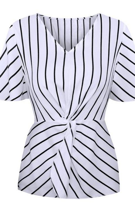 Women Chiffon Blouse Batwing Short Sleeve V-Neck Summer Streetwear Casual Striped Tops white striped