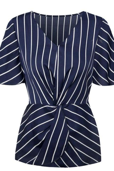 Women Chiffon Blouse Batwing Short Sleeve V-Neck Summer Streetwear Casual Striped Tops navy blue striped