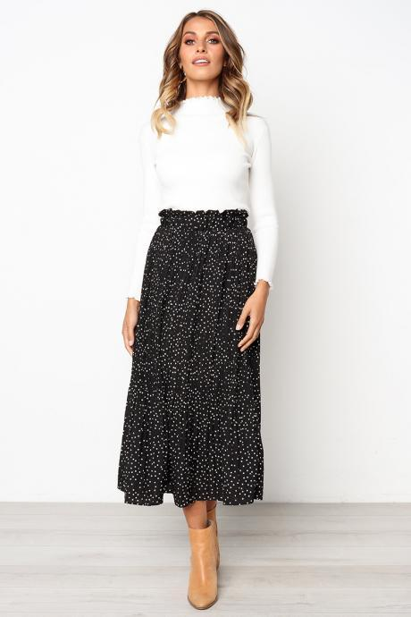 Women Polka Dot Pleated Skirt Spring Summer Pocket Elastic Waist Boho Beach Midi Long Skirt black