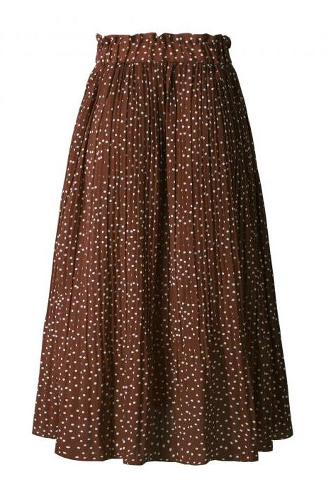 Women Polka Dot Pleated Skirt Spring Summer Pocket Elastic Waist Boho Beach Midi Long Skirt coffee