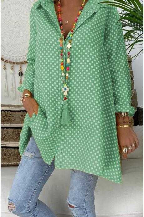 Women Polka Dot Blouse V Neck Long Sleeve Casual Loose Plus Size Top Shirt green