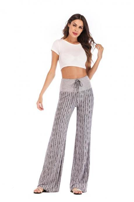 Women Striped Pants Drawstring High Waist Yoga Sports Casual Loose Long Trousers gray