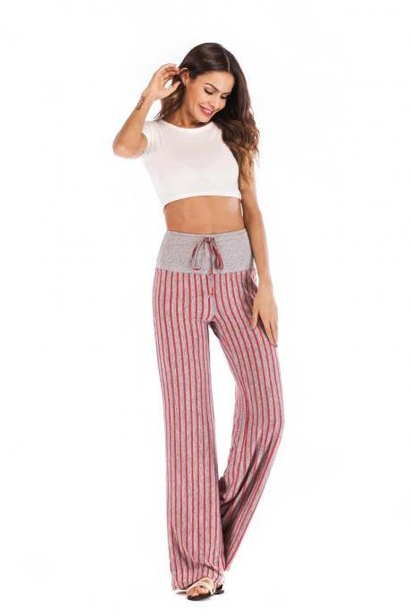 Women Striped Pants Drawstring High Waist Yoga Sports Casual Loose Long Trousers red