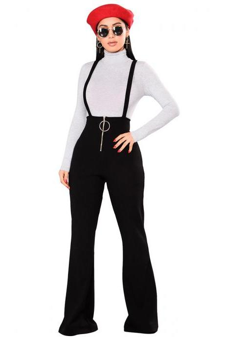 Women Flare Pants High Waist Front Zipper Metal Circle Long Casual Spaghetti Strap Wide Leg Trousers black