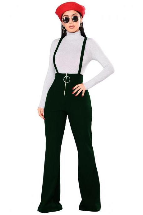 Women Flare Pants High Waist Front Zipper Metal Circle Long Casual Spaghetti Strap Wide Leg Trousers green