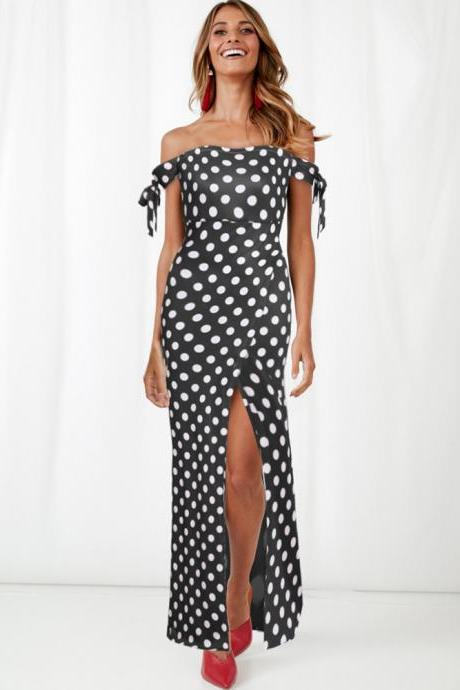 Women Polka Dot Maxi Dress Split Boho Beach Off the Shoulder Long Evening Party Dress black