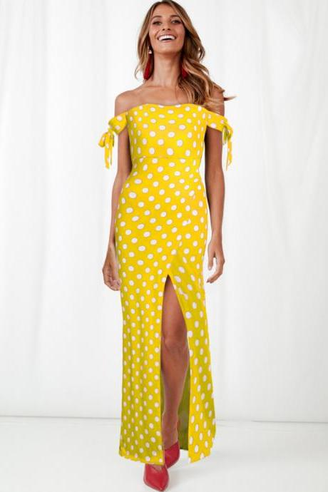Women Polka Dot Maxi Dress Split Boho Beach Off the Shoulder Long Evening Party Dress yellow
