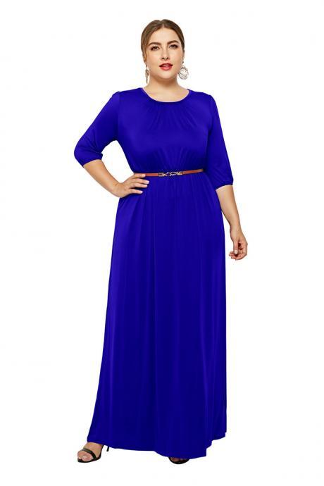 Women Maxi Dress O-Neck 3/4 Sleeve Belted Plus Size Long Formal Party Dress royal blue