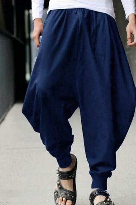 Men Harem Pants Drawstring Waist Plus Size Hip Hop Streetwear Casual Loose Baggy Trousers navy blue