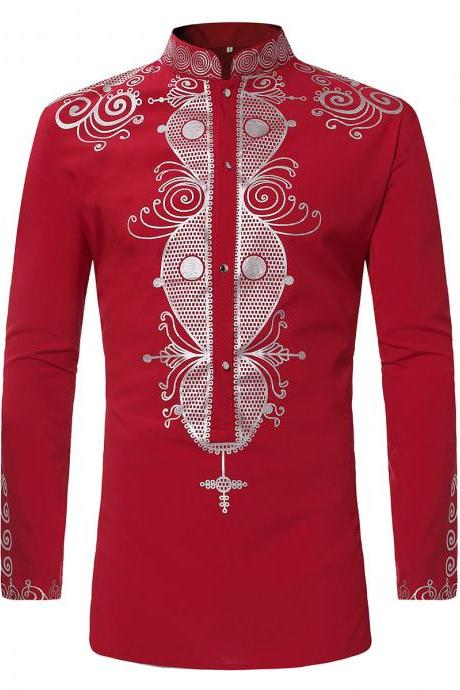 Men African Printed Shirt Stand Collar Tribal Ethnic Casual Slim Fit Long Sleeve Shirt red