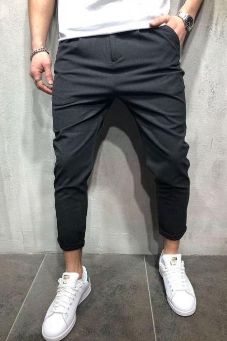 Men Harem Pants Mid Waist Streetwear Casual Ankle Length Slim Hip Hop Joggers Long Trousers black-gray