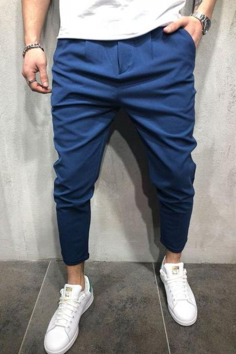 Men Harem Pants Mid Waist Streetwear Casual Ankle Length Slim Hip Hop Joggers Long Trousers blue