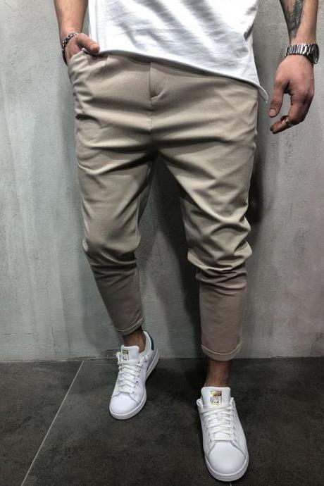 Men Harem Pants Mid Waist Streetwear Casual Ankle Length Slim Hip Hop Joggers Long Trousers khaki