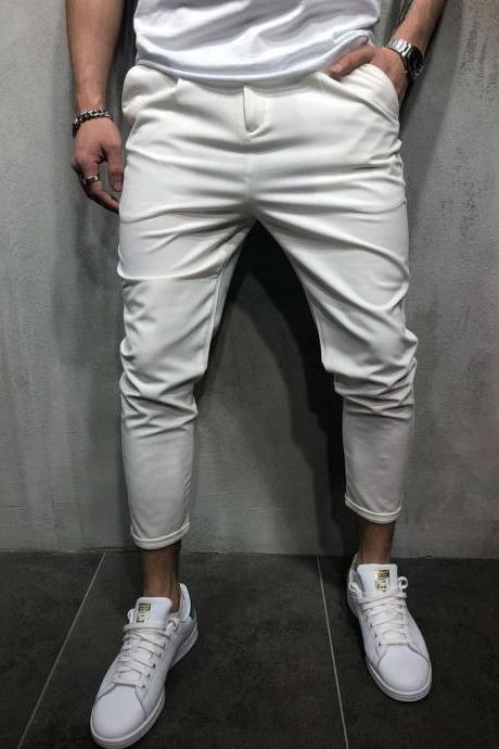 Men Harem Pants Mid Waist Streetwear Casual Ankle Length Slim Hip Hop Joggers Long Trousers white