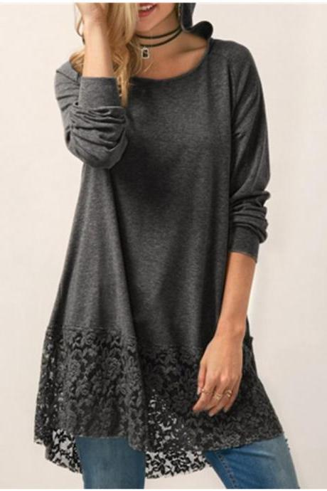 Women Long Sleeve T Shirt Casual Loose Lace Patchwork Hooded Plus Size Pullover Tops dark gray