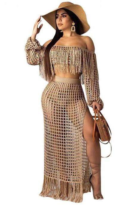 Women Two Pieces Set Mesh Grid Sheer Tassel Off Shoulder Crop Top+Side Split Maxi Skirt Summer Beach Long Suits khaki
