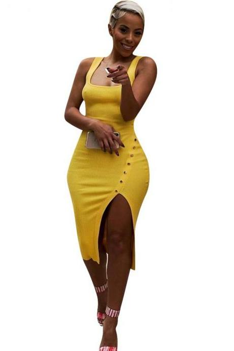 Women Pencil Dress Spaghetti Strap Sleeveless Side Split Asymmetrical Bodycon Midi Club Party Dress yellow