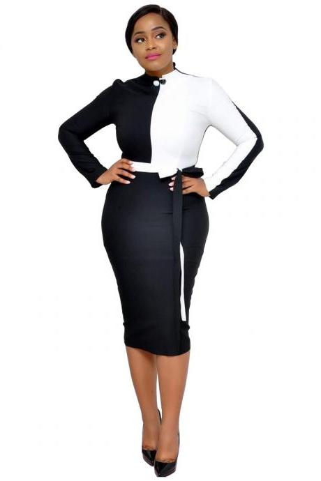 Women Pencil Dress Patchwork Color Long Sleeve Casual Work Office Slim Midi Bodycon Party Dress black