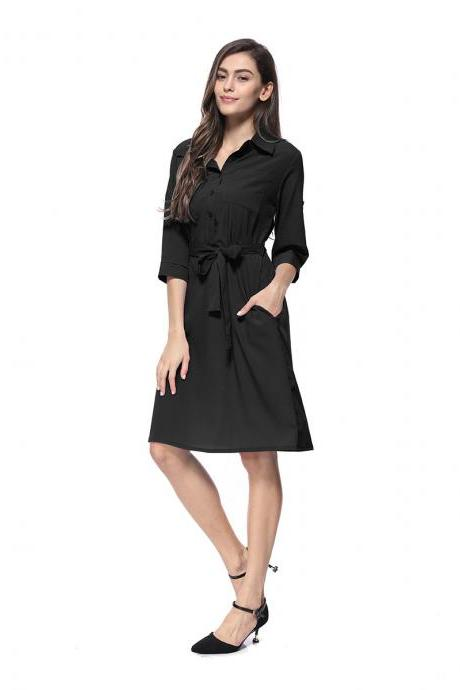 Women Shirt Dress Turn Down Collar 3/4 Sleeve Belted Casual Work Office Midi Dress black