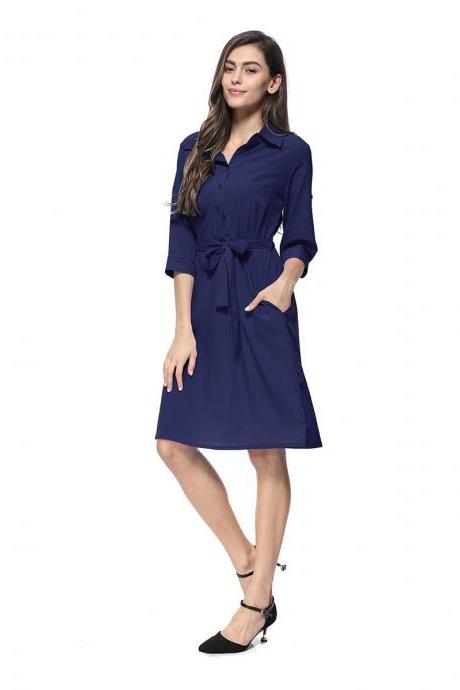 Women Shirt Dress Turn Down Collar 3/4 Sleeve Belted Casual Work Office Midi Dress navy blue