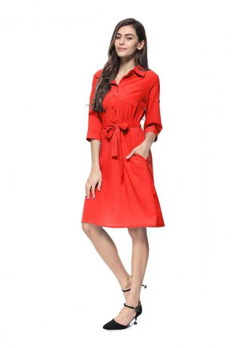 Women Shirt Dress Turn Down Collar 3/4 Sleeve Belted Casual Work Office Midi Dress red