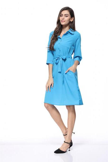 Women Shirt Dress Turn Down Collar 3/4 Sleeve Belted Casual Work Office Midi Dress sky blue