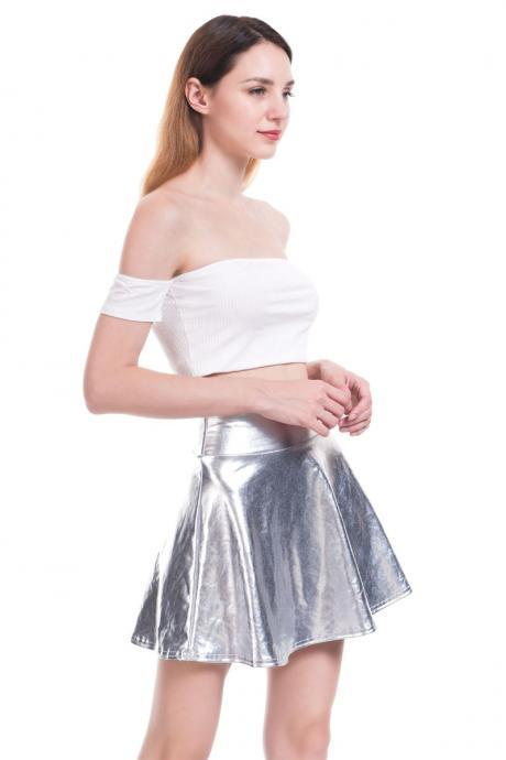 Women Mini Metallic Skirt Summer High Waist PU Leather Casual Stage Short A Line Club Party Skirt silver