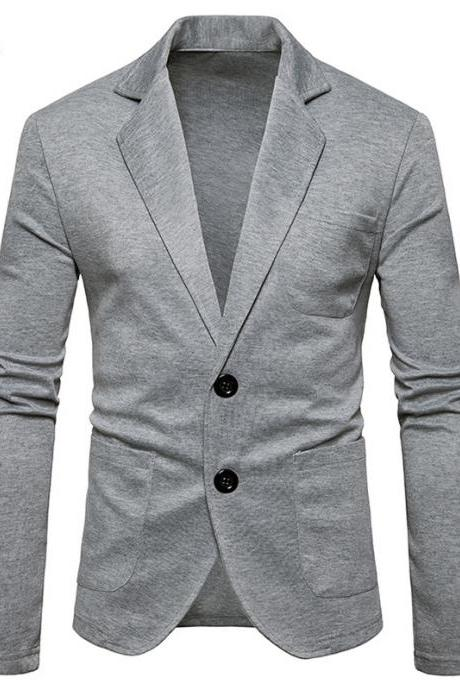 Men Blazer Coat British Style Two Buttons Long Sleeve Casual Slim Fit Suit Jacket gray