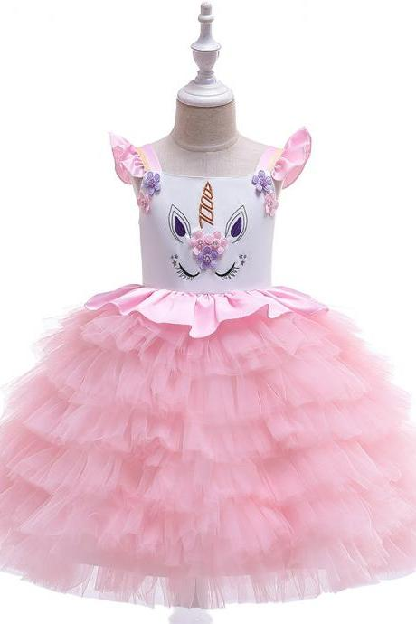 Unicorn Flower Girl Dress Princess Wedding Birthday Perform Party Tutu Gown Kids Children Clothes pink