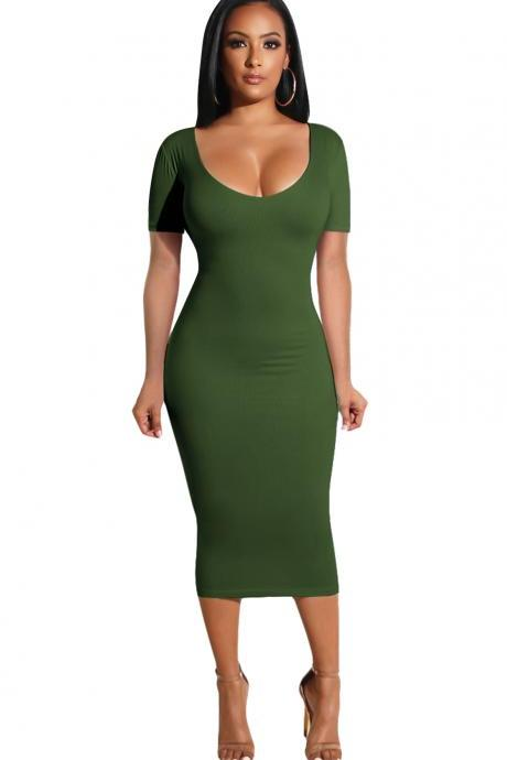 Women Pencil Dress Casual Short Sleeve Backless Bodycon Midi Party Dress army green