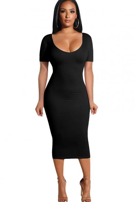 Women Pencil Dress Casual Short Sleeve Backless Bodycon Midi Party Dress black
