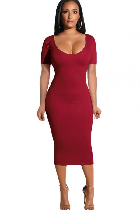 Women Pencil Dress Casual Short Sleeve Backless Bodycon Midi Party Dress burgundy