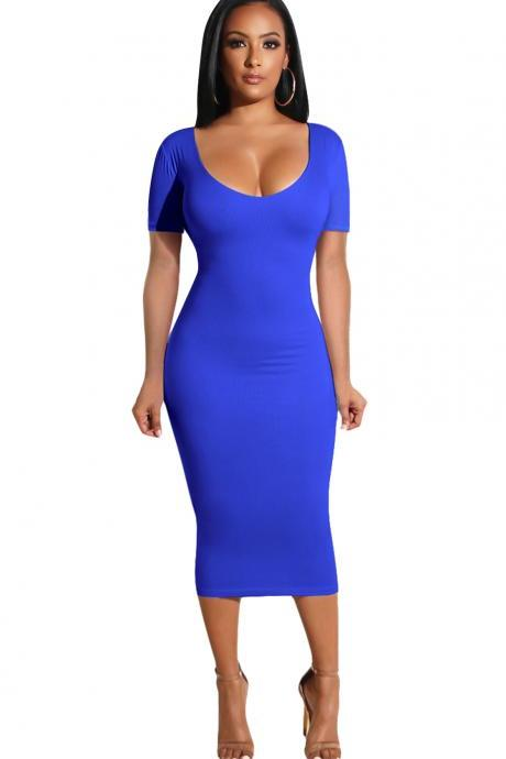 Women Pencil Dress Casual Short Sleeve Backless Bodycon Midi Party Dress royal blue