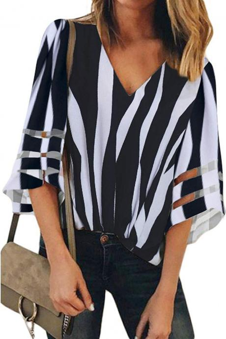 Women Striped Blouse V Neck Mesh Pachwork Flare Sleeve Casual Loose Tops Shirt black
