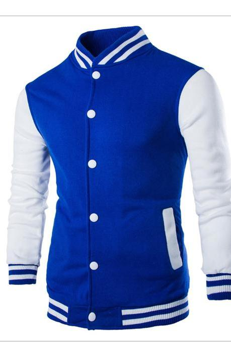 Men Baseball Coat Spring Autumn Single Breasted Long Sleeve Casual Bomber Jacket blue