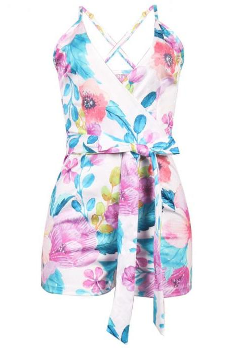 Women Jumpsuit Floral Printed V-Neck Sleeveless Summer Beach Playsuit Bodycon Rompers pink