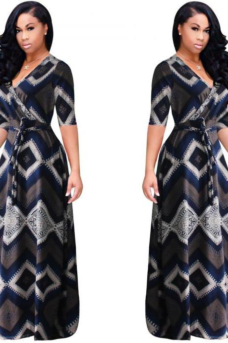 Women Maxi Dress V Neck Short Sleeve Belted Printed Plus Size A Line Long Party Dress navy blue