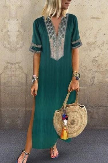 Women Maxi Dress Casual V Neck Short Sleeve Split Summer Boho Beach Holiday Long Dress green
