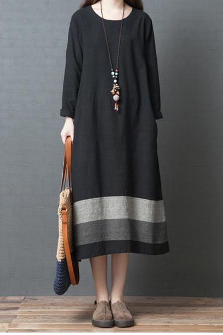 Women Maxi Dress Casual Long Sleeve Striped Patchwork Loose A Line Long Dress black