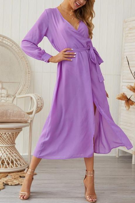 Women Maxi Dress Casual V Neck Long Sleeve Side Split Belted Long Party Dress purple
