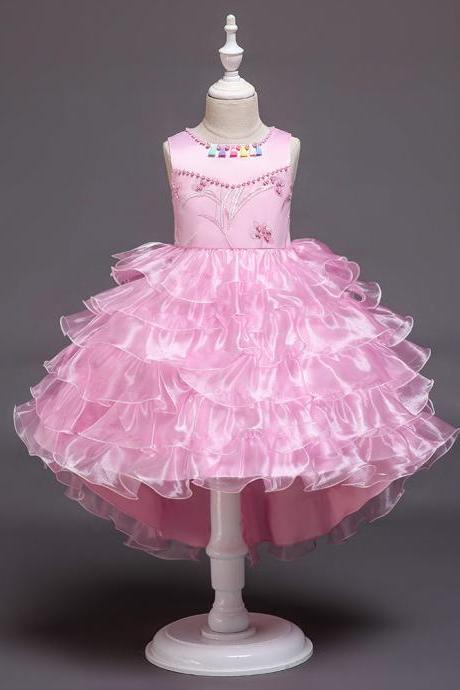 High Low Flower Girl Dress Layered Trailing Tutu Formal Birthday Party Ball Gown Kids Children Clothes pink
