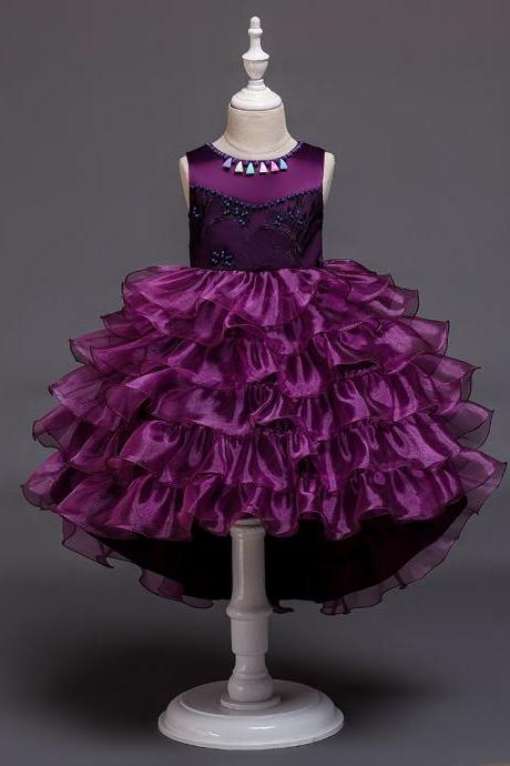 High Low Flower Girl Dress Layered Trailing Tutu Formal Birthday Party Ball Gown Kids Children Clothes purple