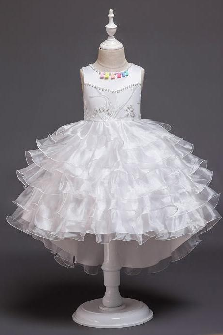 High Low Flower Girl Dress Layered Trailing Tutu Formal Birthday Party Ball Gown Kids Children Clothes white