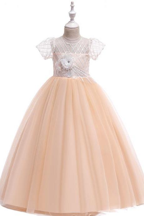 Long Flower Girl Dress Short Sleeve Teens Wedding Formal Birthday Party Tutu Gown Kids Children Clothes champagne