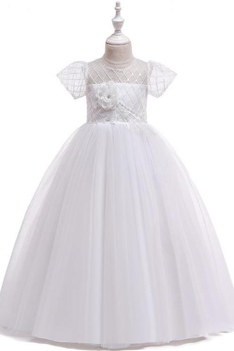 Long Flower Girl Dress Short Sleeve Teens Wedding Formal Birthday Party Tutu Gown Kids Children Clothes white