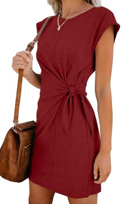 Women Casual Dress Short Sleeve Tie Waist Summer Loose Mini Club Party Dress wine red