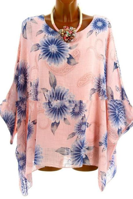 Women Floral Printed T Shirt Summer 3/4 Sleeve Casual Loose Plus Size Asymmetrical Tops pink