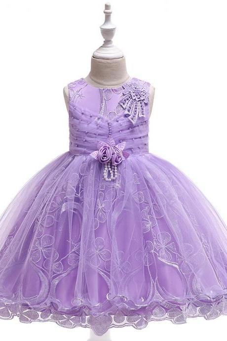Lace Flower Girl Dress Princess Tutu Formal Birthday Party Ball Gown Kids Children Clothes lilac