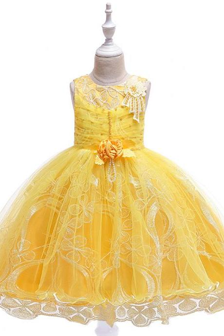 Lace Flower Girl Dress Princess Tutu Formal Birthday Party Ball Gown Kids Children Clothes yellow