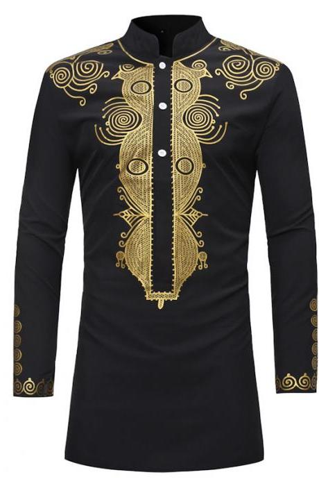 Men African Dashiki Printed Shirt Stand Collar Button Long Sleeve Casual Slim Shirt black